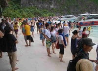 Chinese tourists at Ko Phi Phi